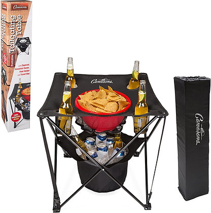 Tailgating Table- Collapsible Folding Camping Beach Table with Insulated Cooler
