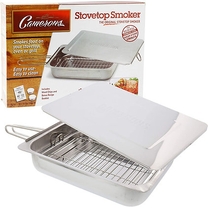 """Camerons Large Stovetop Smoker w Wood Chips and Recipes - 11"""" x 15"""" x 3.5"""""""