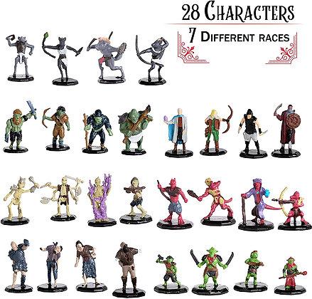 "Painted DnD Miniatures- 28 Mini Figures - All Unique Designs - 1"" Hex-sized"