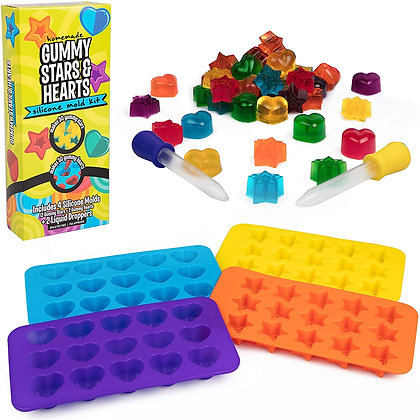 Star & Heart Silicone Gummy Candy Molds, 4 Pack Set - XL Nonstick Trays with 2 D