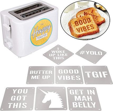 2-Slot Impression Toaster with 8 Interchangable Happy Morning Novelty Design