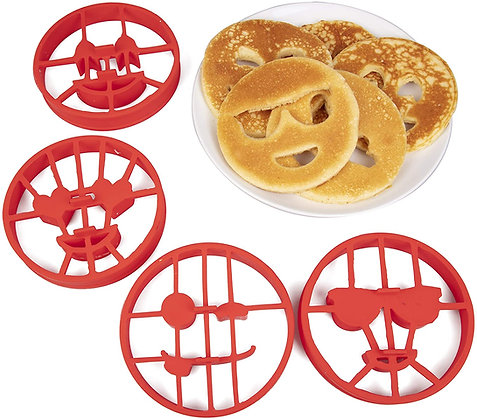 Emoji Pancake Molds and Egg Rings (4 Pack) for Kids AND Adults
