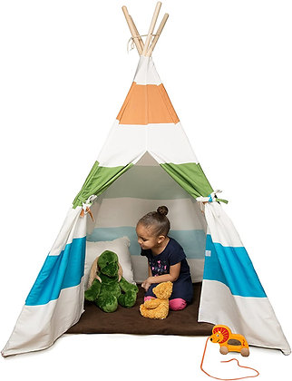 Svan Kid's Canvas Teepee Tent - Made w Cotton with Pine Wood Frame (Colorful)