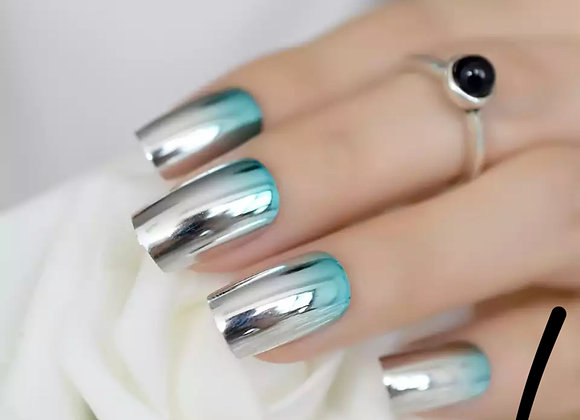 Fade to blue metallic press on nails
