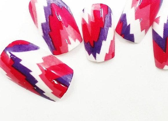 Press on nails pink/purple