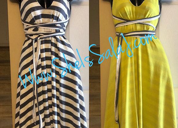 Yellow/Gray Reversible midi length dress
