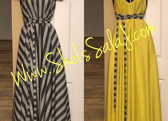 Yellow/Gray Reversible Tie Maxi