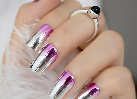 Fade to pink metallic press on nails
