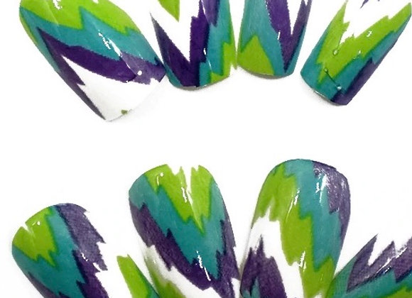 Press on nails green, blue and purple