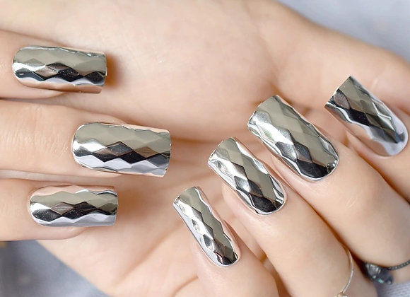 Silver Metallic Press on Nails