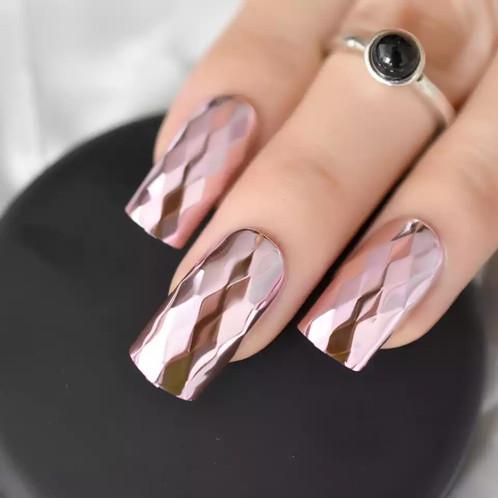 Pink Metallic Press on Nails
