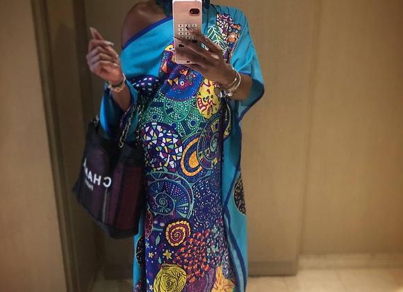 100% Mulberry Silk Hermès Kimono Kaftan Dress