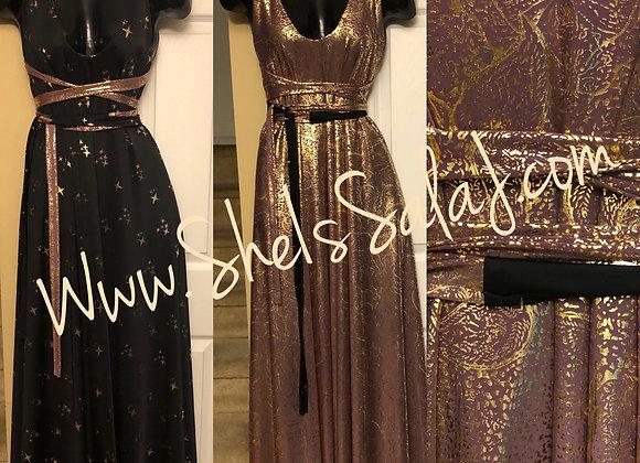 Black and Mauve maxi reversible dress