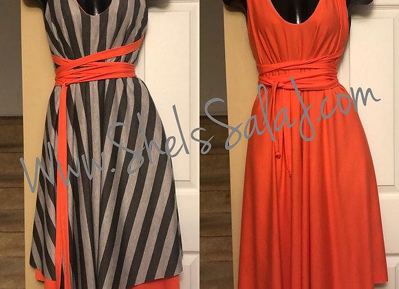 Orange/Gray Reversible Midi