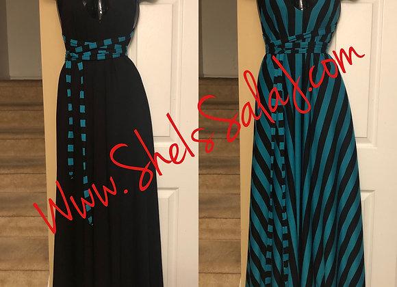 Blue/Black Reversible Tie Maxi