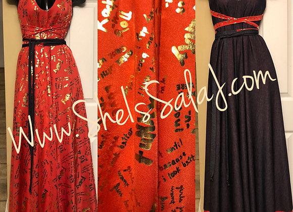 Coral/Denim Maxi reversible dress