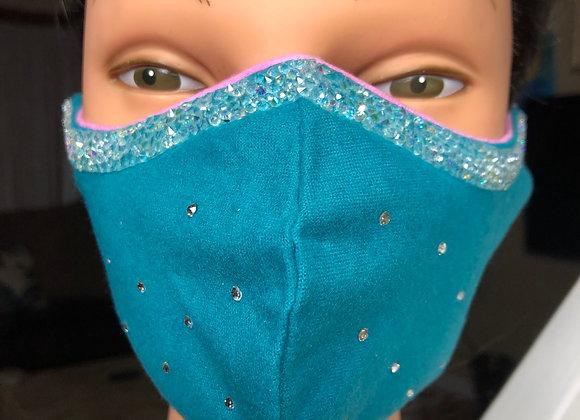 Teal Crystal Swag Mask