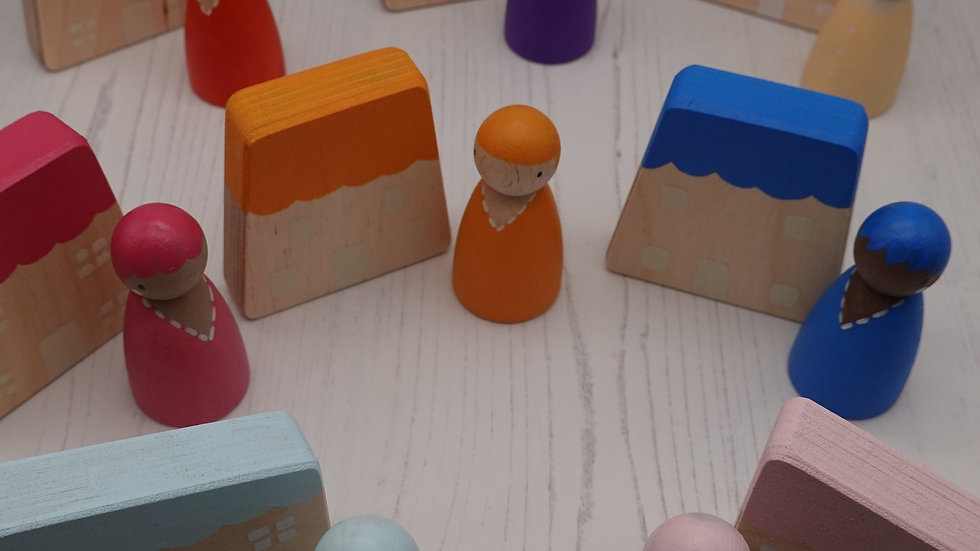 Wooden Peg Person and House Set