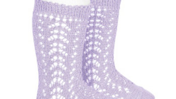 Condor Lilac Open Work Cotton Knee High socks