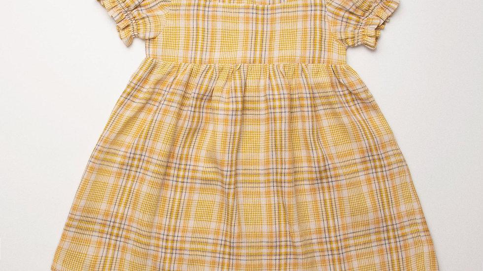 Nellie Quats Marbles Dress Hay Plaid Linen