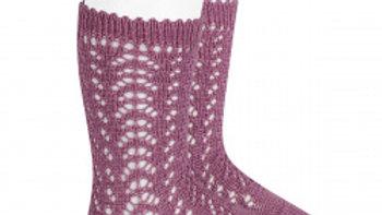 Condor Cassis Open Work Cotton Knee High Socks