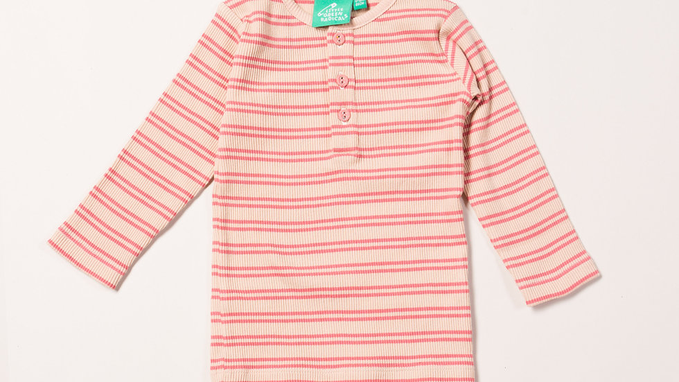 Little Green Radicals Long Sleeve Cotton Striped Rib Top