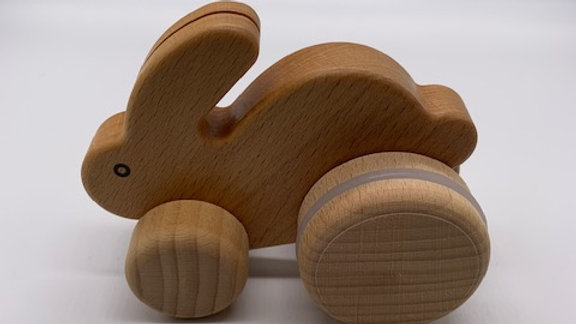 Natural Wooden Hopping Rabbit