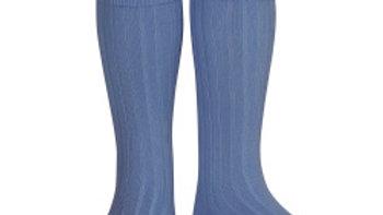 Condor French Blue Knee High Cotton Rib Socks
