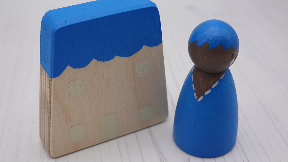 Blue Wooden Peg Person and House Set