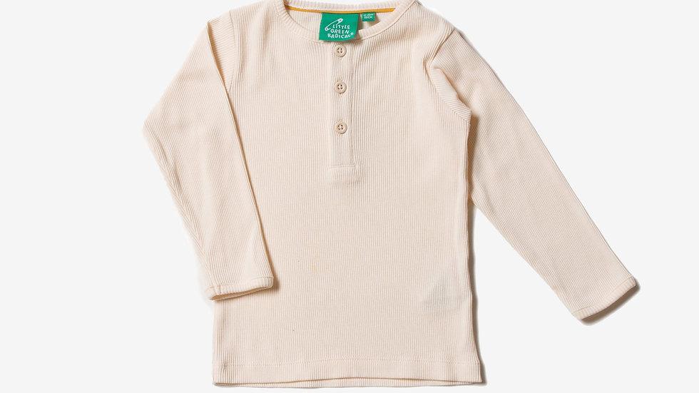 Little Green Radicals Cream Cotton Rib Long Sleeve Top