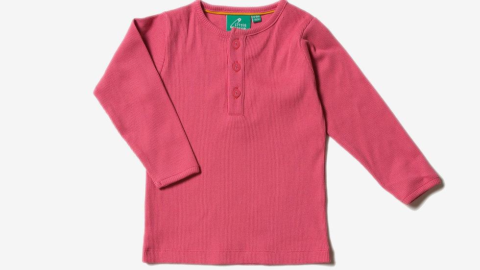 Little Green Radicals Rose Cotton Rib Long Sleeve Top