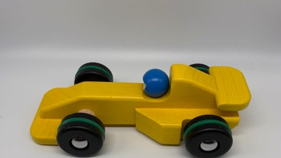 Wooden Yellow F1 Racing Car