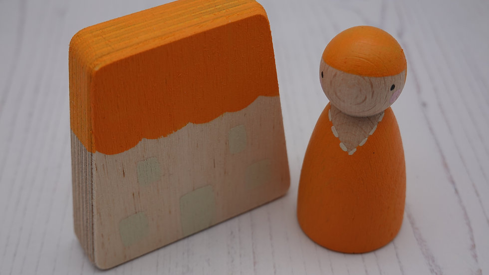 Orange Wooden Peg Person and House Set