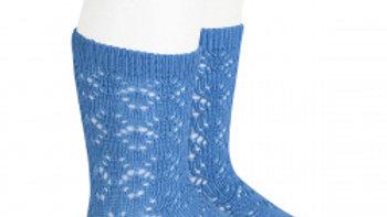 Condor Maya Blue Geometric Open Work Cotton Knee High Socks