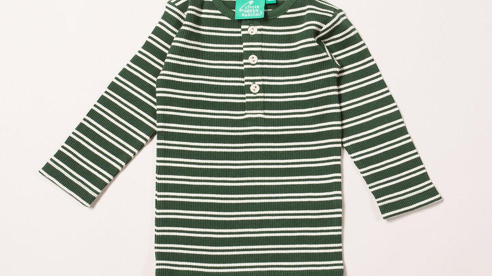 Little Green Radicals Long Sleeve  Dark Green  Striped Rib Top