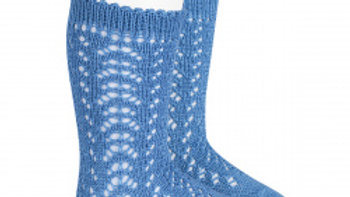 Condor Maya Blue Open Work Cotton Knee High Socks