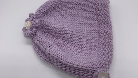 Hand Knitted Lilac Flower Bonnet