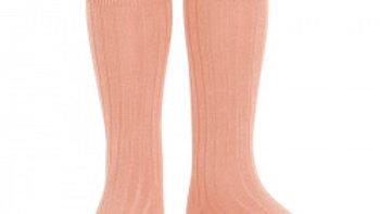 Condor Peony Knee High Rib Cotton  Socks