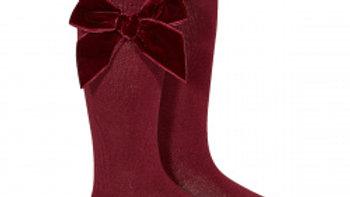 Condor Velvet Bow  Garnet Knee High Socks