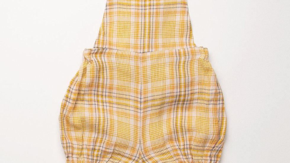 Nellie Quats Jump Rope Romper Hay Plaid Linen