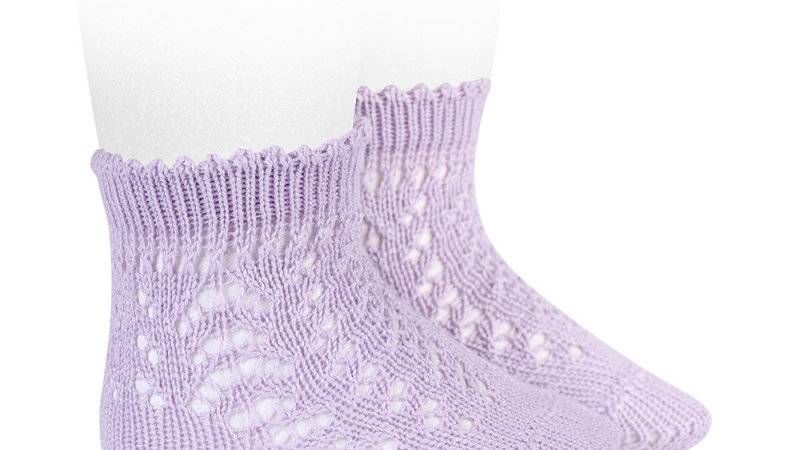 Lilac Open Work Cotton Ankle Sock
