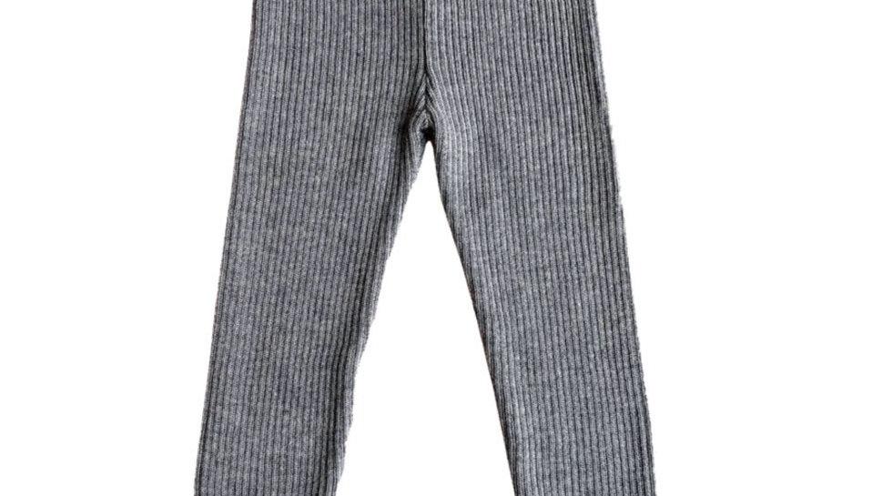 Mabli Sylfaen Grey Marl Merino Wool Rib Leggings