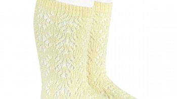 Condor Butter Geometric Open Work Cotton Knee High Socks