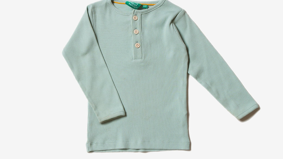Little Green Radicals Pistachio Cotton Rib Long Sleeve Top