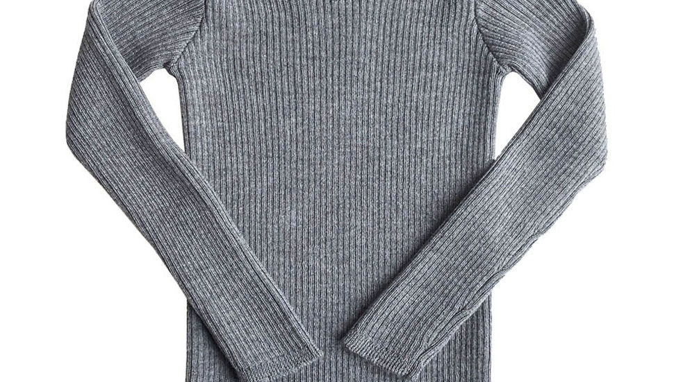 Mabli Sylfaen Grey Marl  Merino Wool Rib Jumper