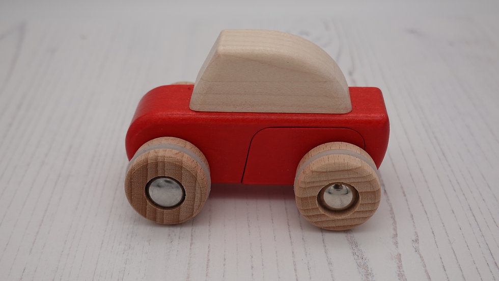 Red Wooden Pull Back Speed Car