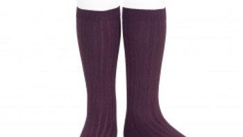 Condor Bordeaux Knee High Cotton Rib Socks