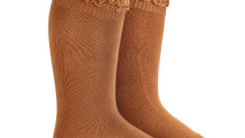 Condor Cannelle Cotton Lace Knee High Socks