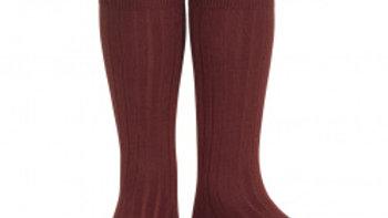 Condor Garnet Knee High Cotton Rib Socks