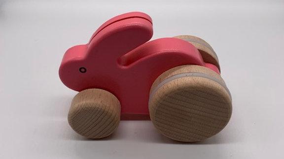 Pink Wooden Hopping Rabbit